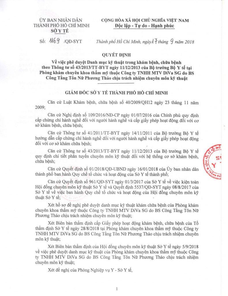 Danh mục kỹ thuật được cấp phép hoạt động tại Phòng Khám Thẩm Mỹ DIVA trang 1