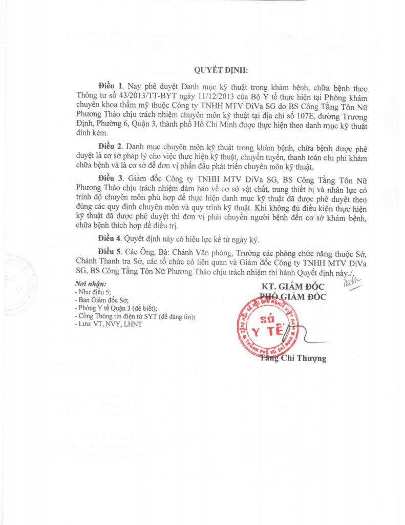 Danh mục kỹ thuật được cấp phép hoạt động tại Phòng Khám Thẩm Mỹ DIVA trang 2