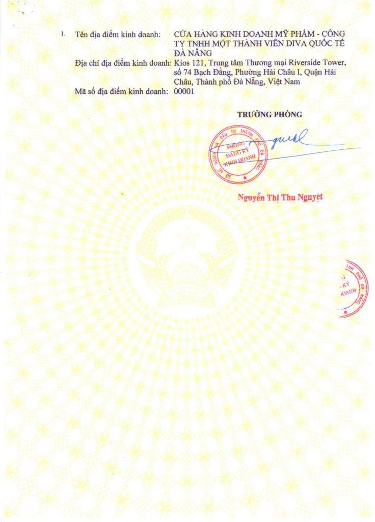 Giấy phép kinh doanh Thẩm Mỹ Quốc Tế DIVA Đà Nẵng Hình 3
