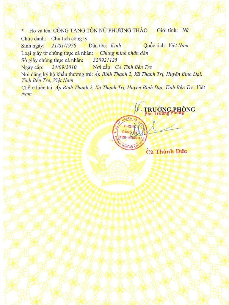 Giấy phép kinh doanh Thẩm Mỹ Quốc Tế DIVA Sài Gòn Hình 2