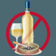 tránh uống rượu và hút thuốc trong vòng 1 tháng