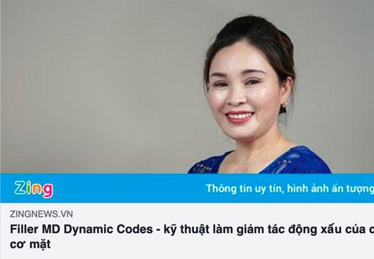 báo zing.vn nói về kỹ thuật tiêm filler md dynamic codes tại thẩm mỹ quốc tế diva